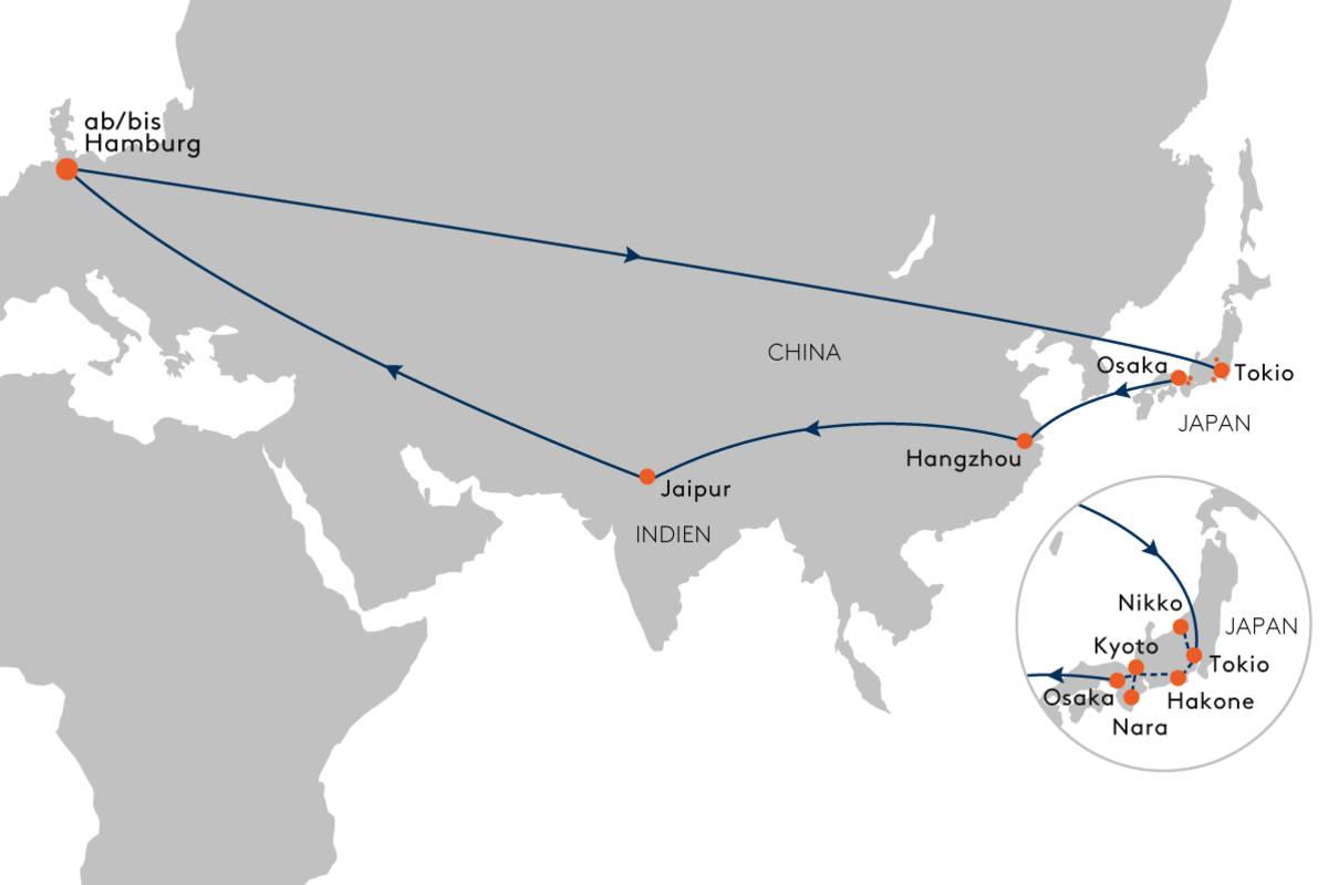 Mit dem Privatjet nach Japan, China und Indien - Hapag-Lloyd Cruises