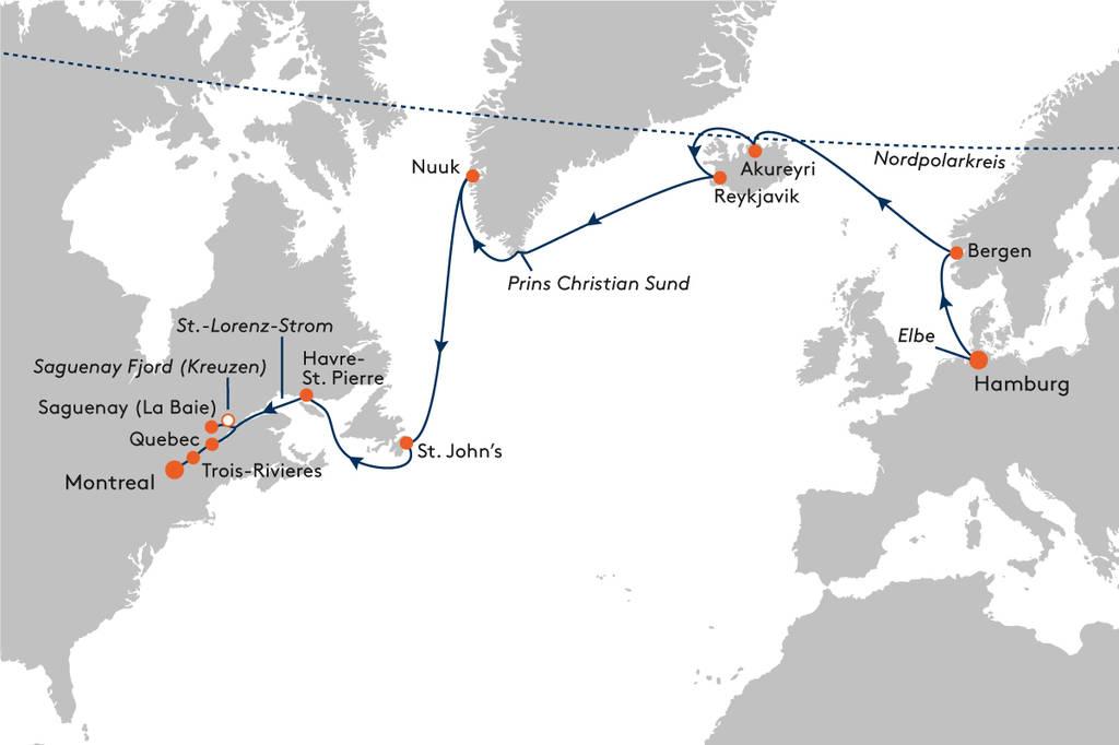 Kreuzfahrt von Hamburg nach Montreal mit MS EUROPA - EUR2018 ...