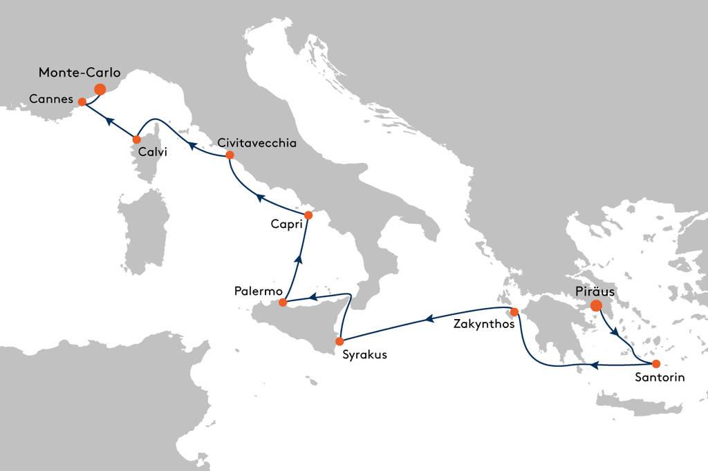 Kreuzfahrt von Piräus (Athen) nach Monte-Carlo mit MS EUROPA ...