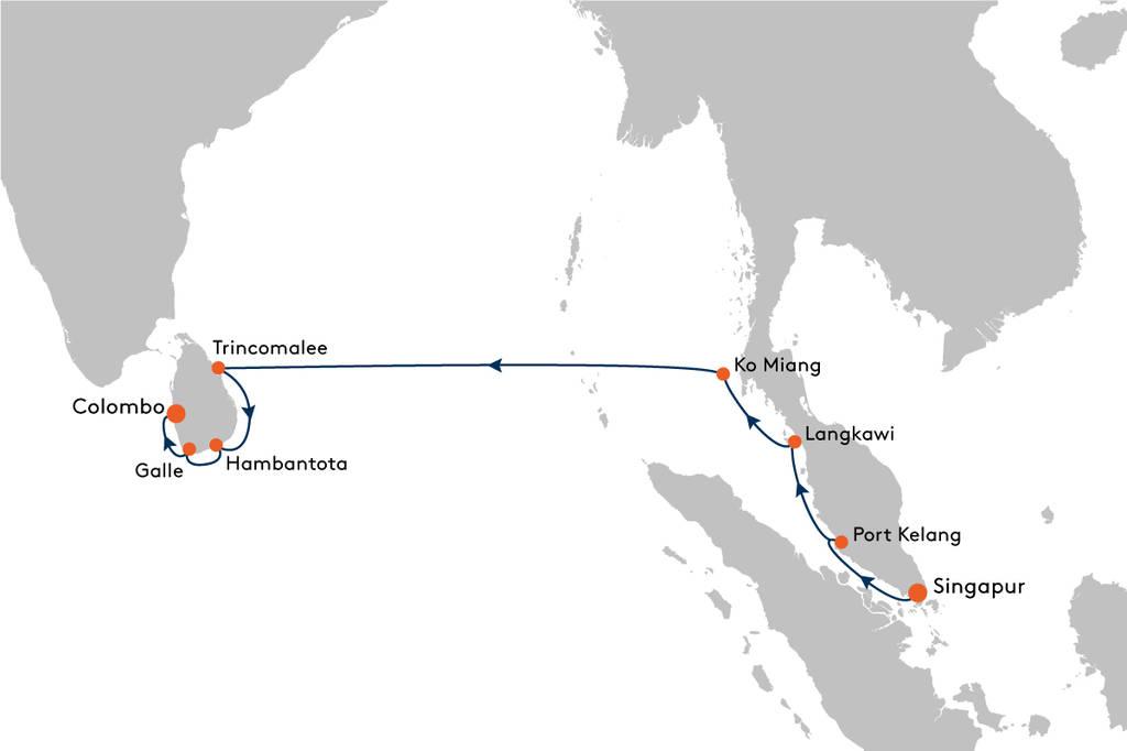 Kreuzfahrt von Singapur nach Colombo mit MS EUROPA 2 - EUX2104 ...