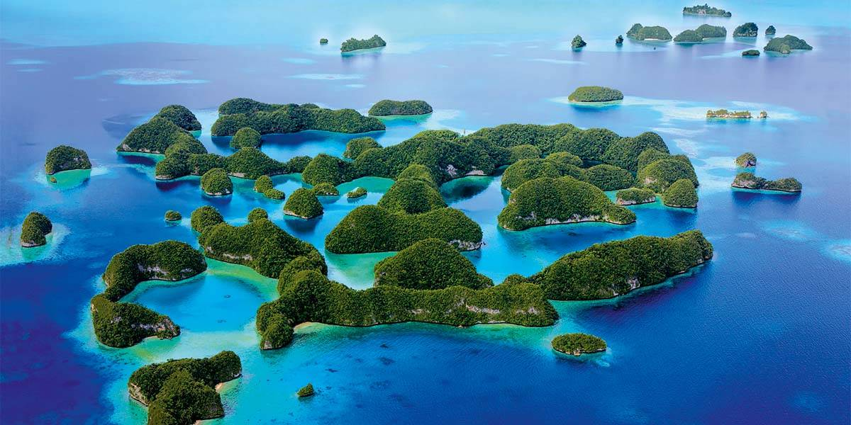 Aerial view of Palau's 70 islands