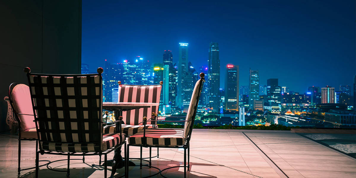 Above the rooftops of Singapore.