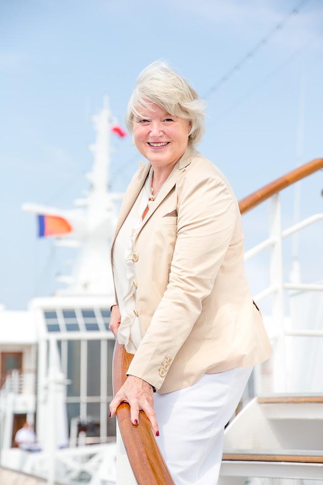 Gabi Haupt an Bord der EUROPA, Hapag-Lloyd Cruises. ©Susanne Baade