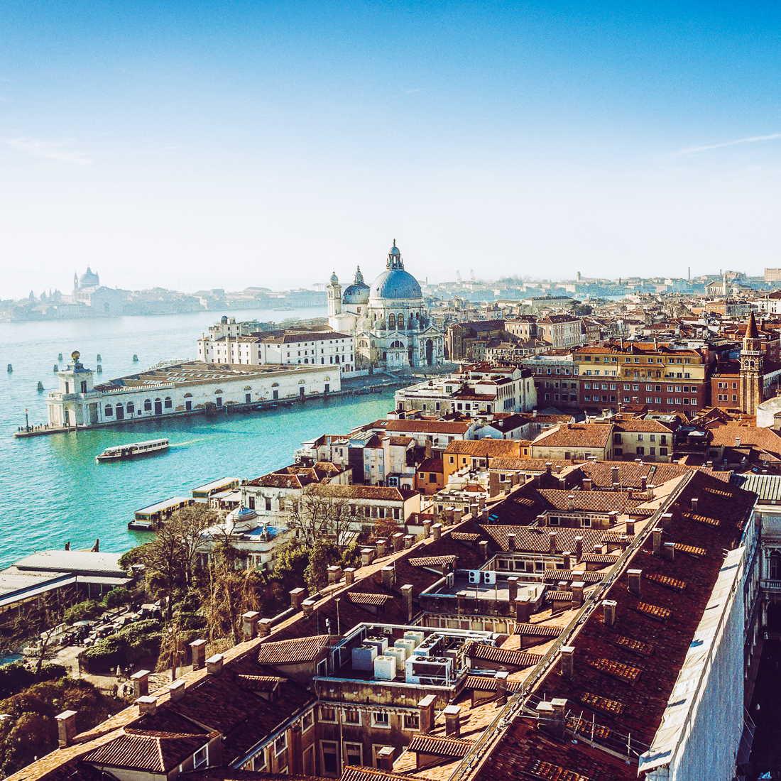 Panoramic aerial cityscape of Venice, Italy